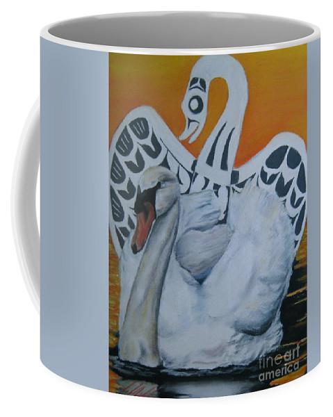 Coffee Mug featuring the pastel Swan Totem by John Huntsman