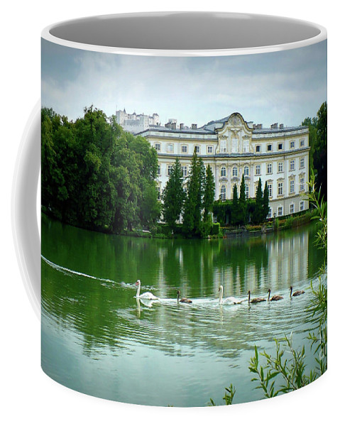 Austrian Lake Coffee Mug featuring the photograph Swans On Austrian Lake by Carol Groenen