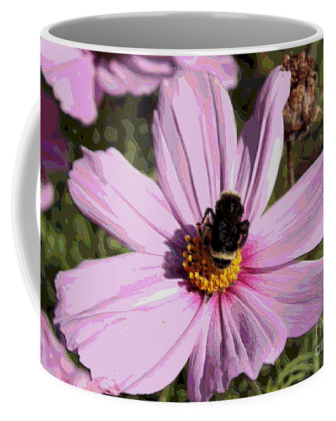 Pink Cosmos Coffee Mug featuring the photograph Sweet Bee On Pink Cosmos - Digital Art by Carol Groenen