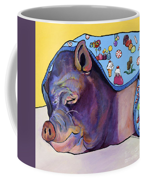Farm Animal Coffee Mug featuring the painting Sweet Dreams by Pat Saunders-White