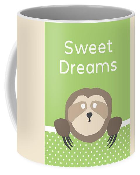 Sloth Coffee Mug featuring the digital art Sweet Dreams Sloth Green- Art by Linda Woods by Linda Woods