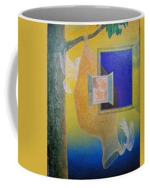Romantic Coffee Mug featuring the painting Sweet Home by Raju Bose