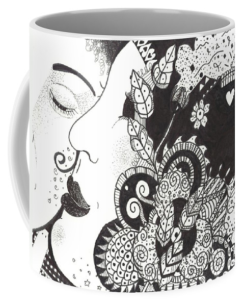 Love Coffee Mug featuring the drawing Sweet Nothings by Helena Tiainen