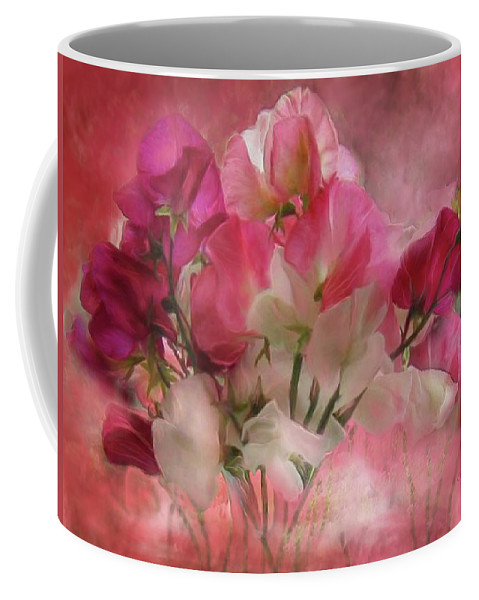 Sweet Peas Coffee Mug featuring the mixed media Sweet Peas by Carol Cavalaris
