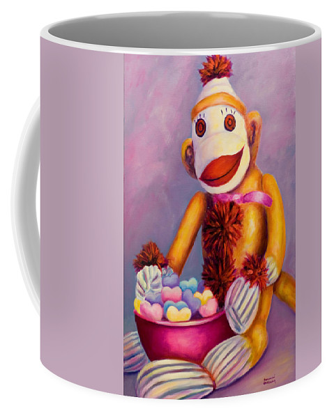 Heart Coffee Mug featuring the painting Sweetheart Made Of Sockies by Shannon Grissom