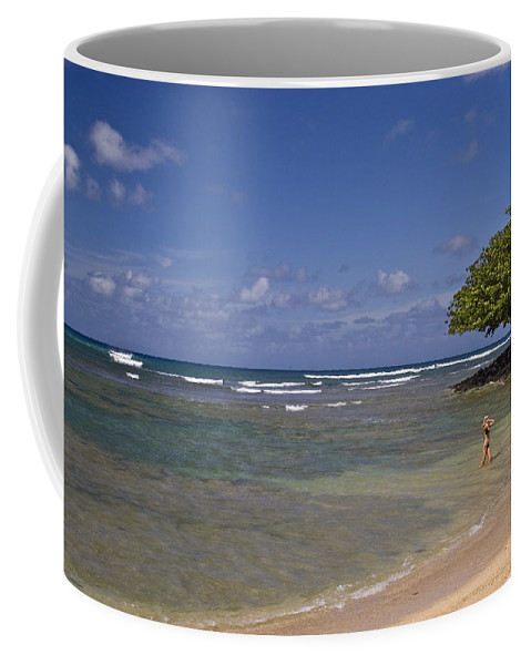 Swimmer Coffee Mug featuring the photograph Swimmer In Paradise by Robert Ponzoni