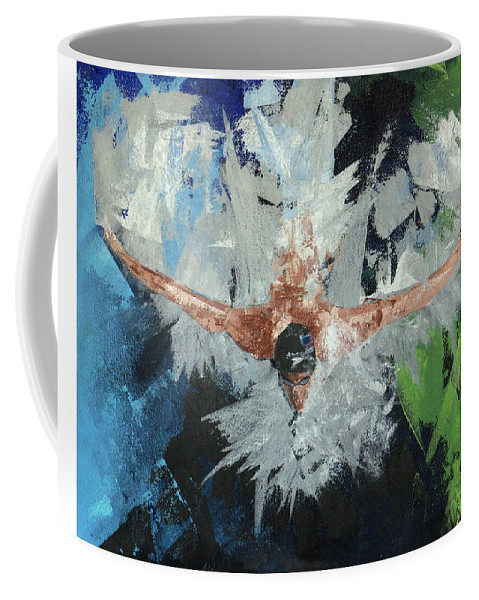 Swimmer Coffee Mug featuring the painting Swimmers Harmony by Jonathan Hanks