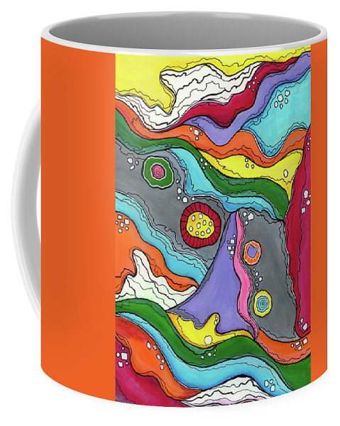 Abstract Painting Coffee Mug featuring the painting Swimming Upstream by Sarena Mantz