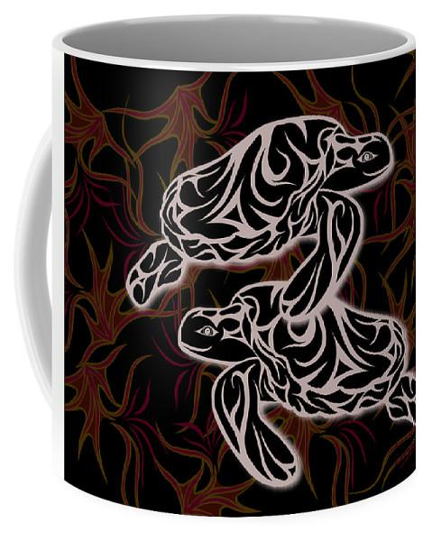 Turtles Coffee Mug featuring the digital art Swimming With Urchins by Jamie Lynn