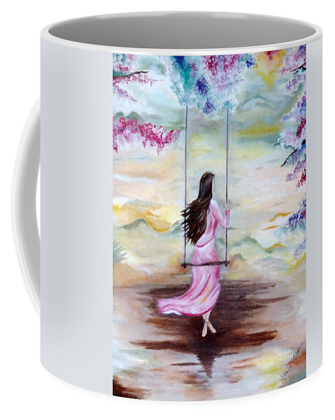 Swing Coffee Mug featuring the painting Swing Me Off My Feet by Lynne Messeck