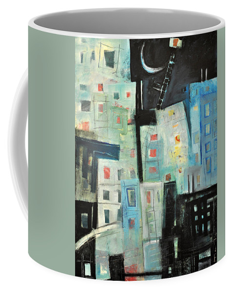 Buildings Coffee Mug featuring the painting Swing Shift by Tim Nyberg