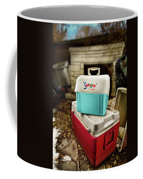 Painted Coffee Mug featuring the photograph Swinger Cooler by Yo Pedro