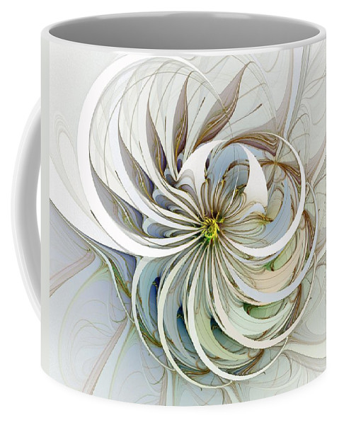 Digital Art Coffee Mug featuring the digital art Swirling Petals by Amanda Moore