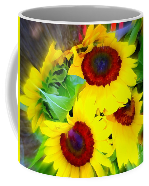 Digital Coffee Mug featuring the photograph Swirling Sunflowers by Ed Weidman
