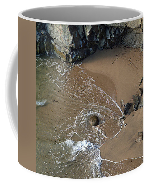 Big Sur Coffee Mug featuring the photograph Swirling Surf And Rocks by Charlene Mitchell