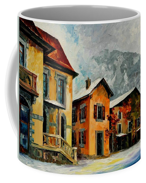 Afremov Coffee Mug featuring the painting Switzerland - Town In The Alps by Leonid Afremov