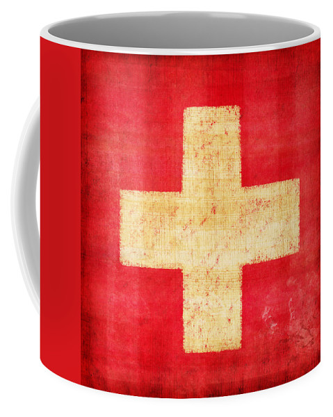 Abstract Coffee Mug featuring the photograph Switzerland Flag by Setsiri Silapasuwanchai