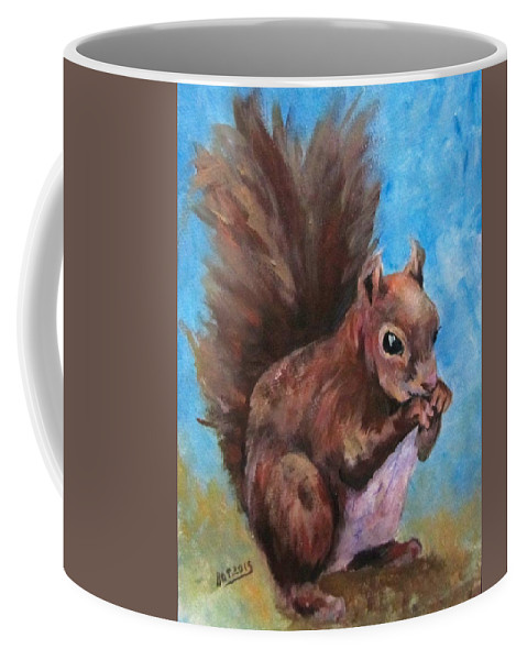 Squirrel Coffee Mug featuring the painting Sylas Saves For Winter by Barbara O'Toole