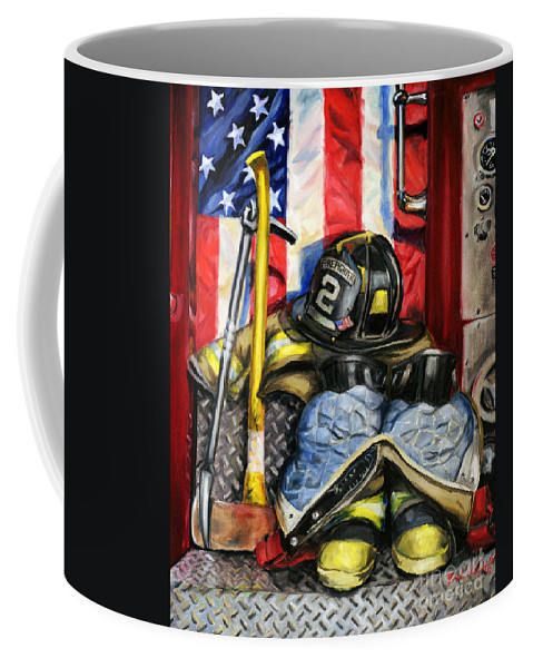 Firefighting Coffee Mug featuring the painting Symbols Of Heroism by Paul Walsh