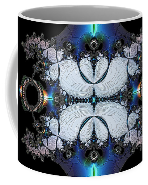 Abstract Coffee Mug featuring the digital art Symmetry In Circuitry by Casey Kotas