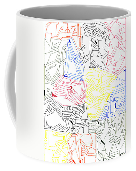 Mazes Coffee Mug featuring the drawing Synchronicity by Steven Natanson