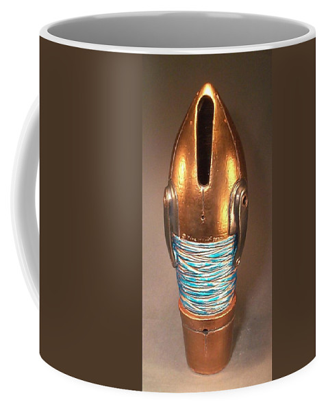 Clay Coffee Mug featuring the ceramic art T - Minus 10 To Mars by Mike McGoff