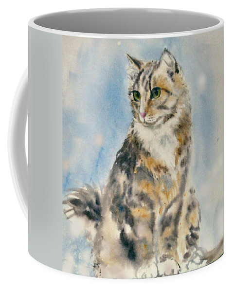 Cat Painting. Original.tabby Cat Coffee Mug featuring the painting Tabby Cat by Frances Gillotti