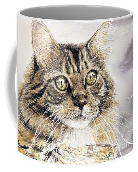 Cat Artwork Coffee Mug featuring the painting Tabby Cat Jellybean by Keran Sunaski Gilmore
