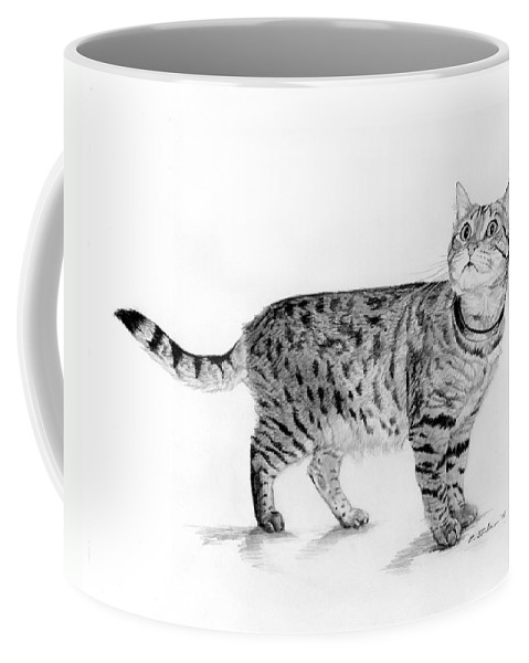 Cat Coffee Mug featuring the drawing Tabby Cat Looking Up by Phyllis Tarlow