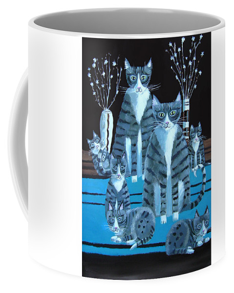Cats Coffee Mug featuring the painting Tabby Family by Mary Stubberfield
