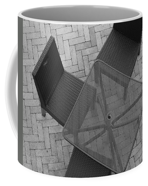 Table Coffee Mug featuring the photograph Table Chairs From Above by Rob Hans