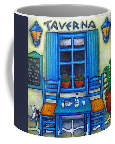 Blues Coffee Mug featuring the painting Table for Two in Greece by Lisa Lorenz