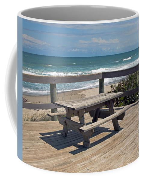 Florida Coffee Mug featuring the photograph Table For You In Melbourne Beach Florida by Allan Hughes