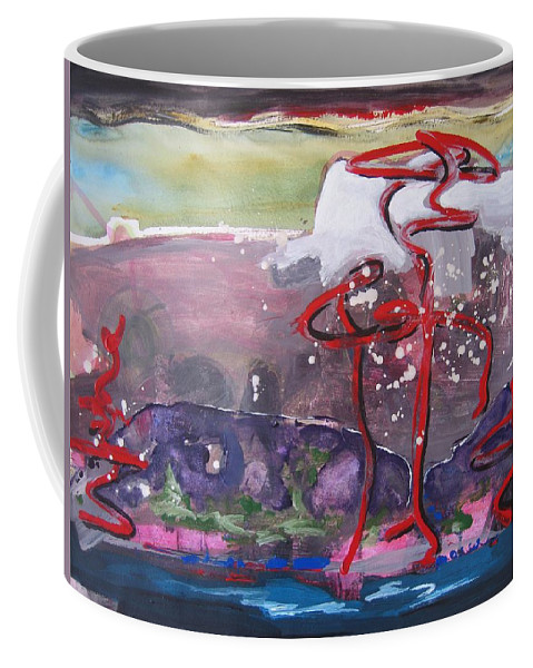 Abstract Paintings Coffee Mug featuring the painting Table Land3 by Seon-Jeong Kim