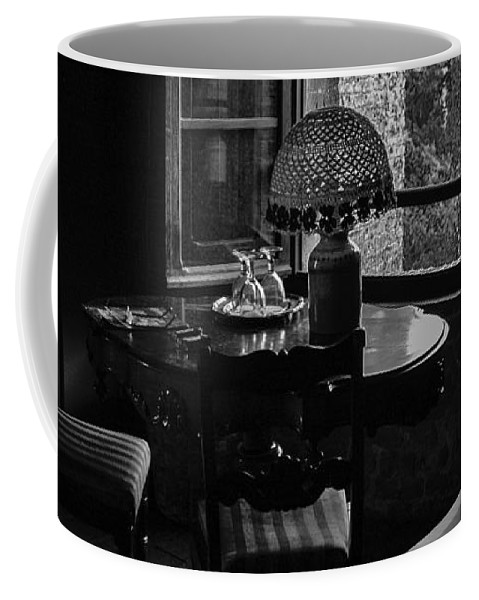 Black & White Coffee Mug featuring the photograph Table Setting Still Life by Joseph Yvon Cote
