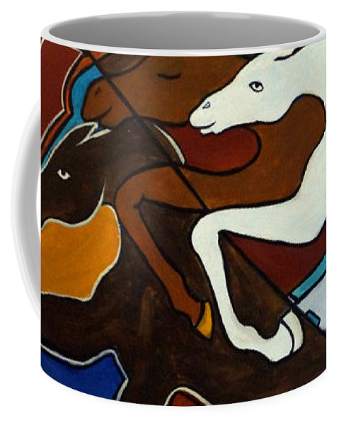 Horse Abstract Coffee Mug featuring the painting Taffy Horses by Valerie Vescovi
