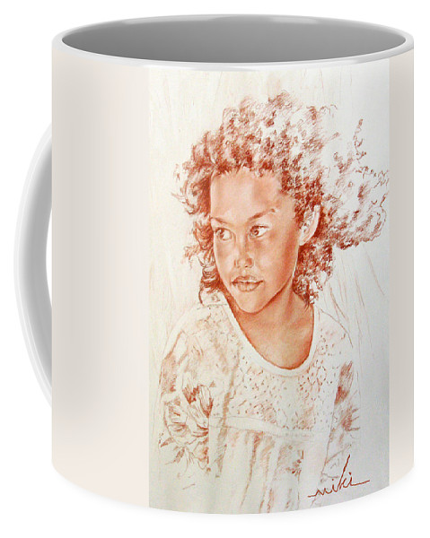 Drawing Persons Coffee Mug featuring the painting Tahitian Girl by Miki De Goodaboom