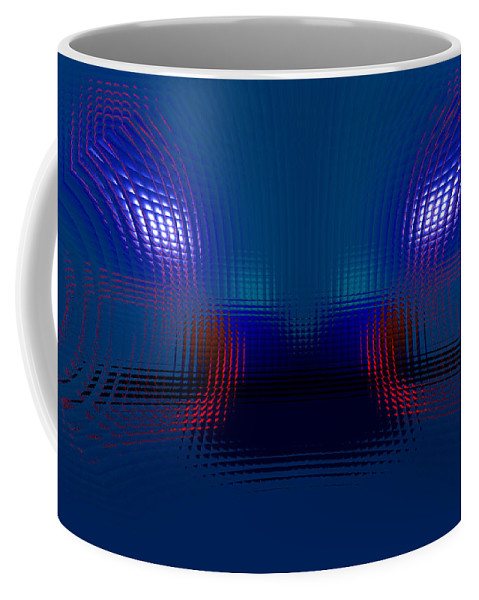 Blue Coffee Mug featuring the digital art Tail Lights In The Rain by Donna Blackhall