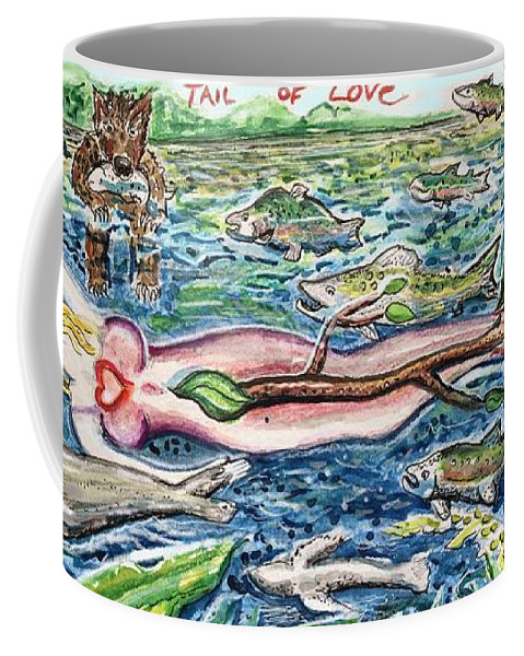 Mermaid Coffee Mug featuring the mixed media Tail Of Love by Podge Elvenstar