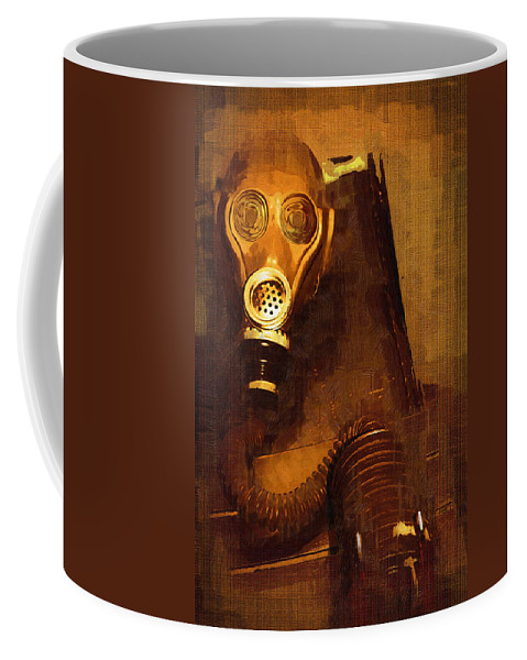Mask Coffee Mug featuring the painting Tainted by Holly Ethan
