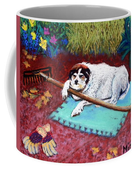 Dog Coffee Mug featuring the painting Take A Break by Minaz Jantz