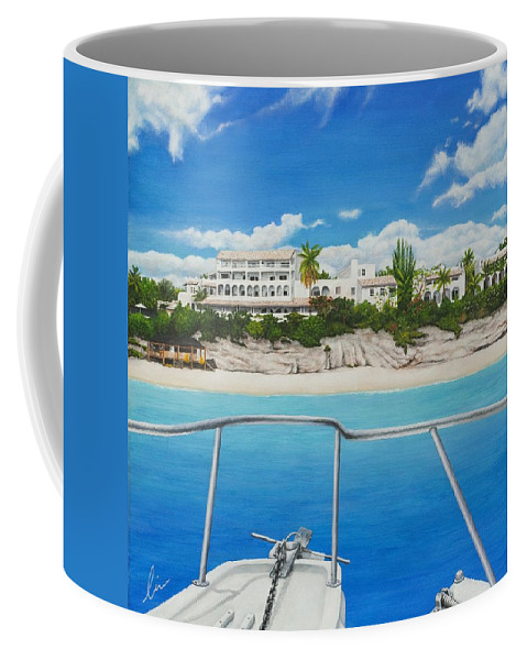 La Samanna Coffee Mug featuring the painting Take Me To La Samanna by Cindy D Chinn