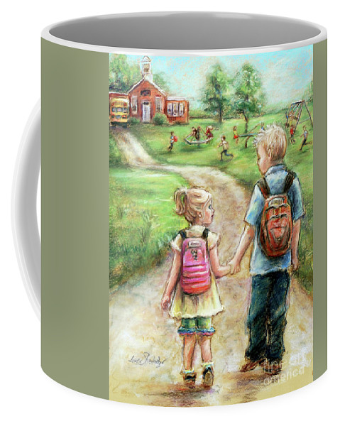 Sister Coffee Mug featuring the pastel Take My Hand Little Sis by Laurie Shanholtzer