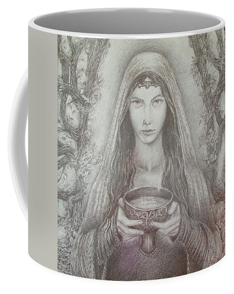 Girl Coffee Mug featuring the drawing Take A Bowl Of Your Happiness by Rita Fetisov