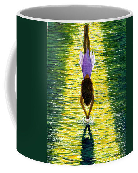 Dive Coffee Mug featuring the painting Take The Plunge by Catherine G McElroy