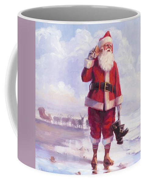 Santa Coffee Mug featuring the painting Taking A Break by Steve Henderson