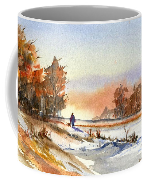Peaceful Coffee Mug featuring the painting Taking A Walk by Debbie Lewis