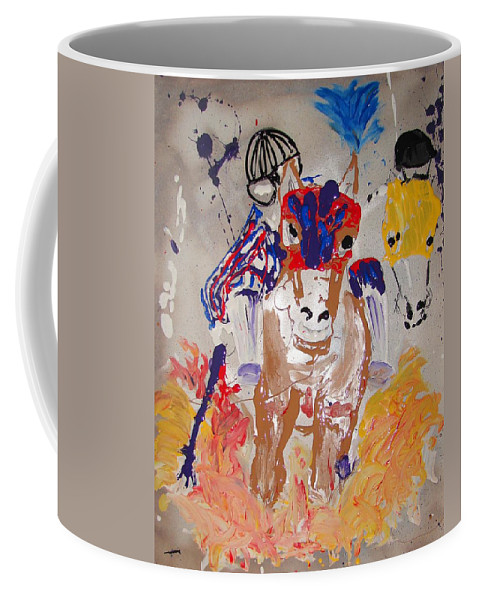 Horse Coffee Mug featuring the mixed media Taking The Lead by J R Seymour