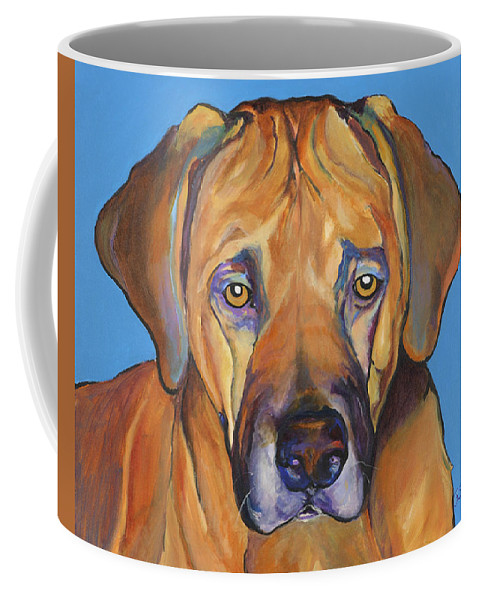 Rhodesian Ridgeback Dog Ridgeback African Colorful Orange Gold Yellow Red Coffee Mug featuring the painting Talen by Pat Saunders-White