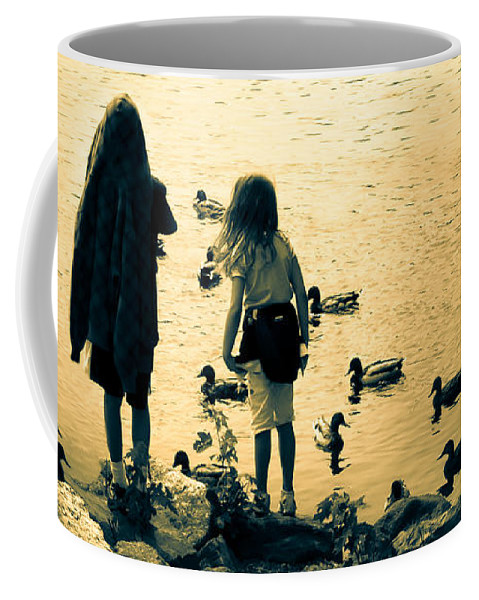 Kids Coffee Mug featuring the photograph Talking To Ducks by Bob Orsillo